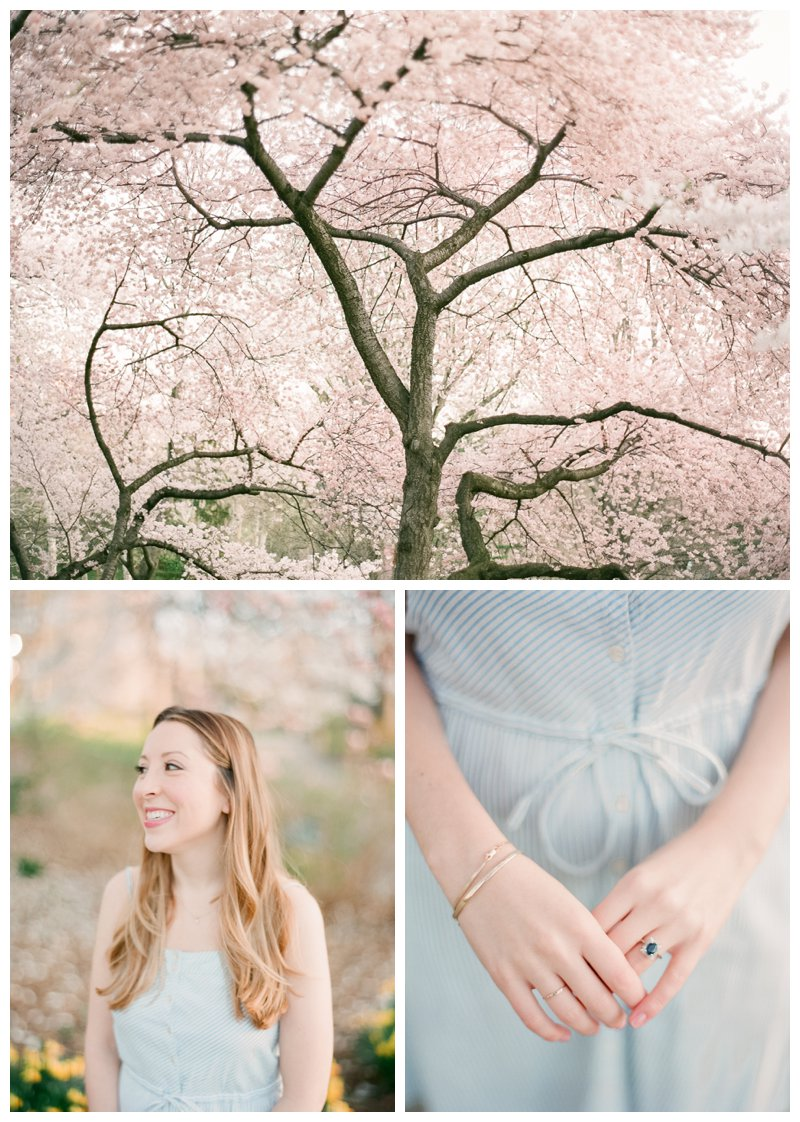 central park cherry blossom engagement