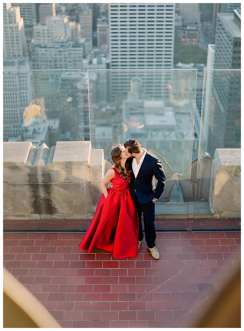 nyc engagement photos, rockefeller center engagement