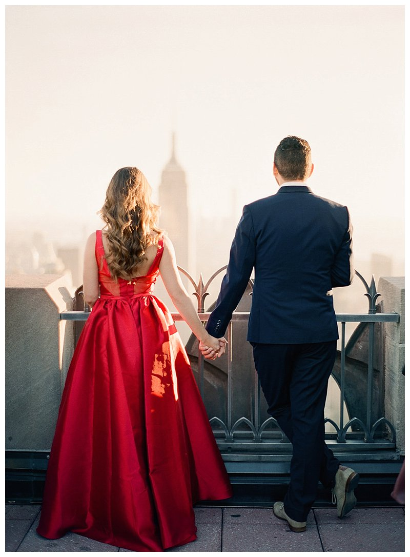 nyc engagement photos, Rockefeller Center