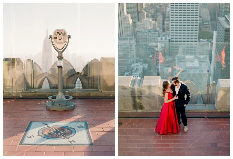 nyc engagement, top of the rock, rockefeller center, contax 645, fuji 400h