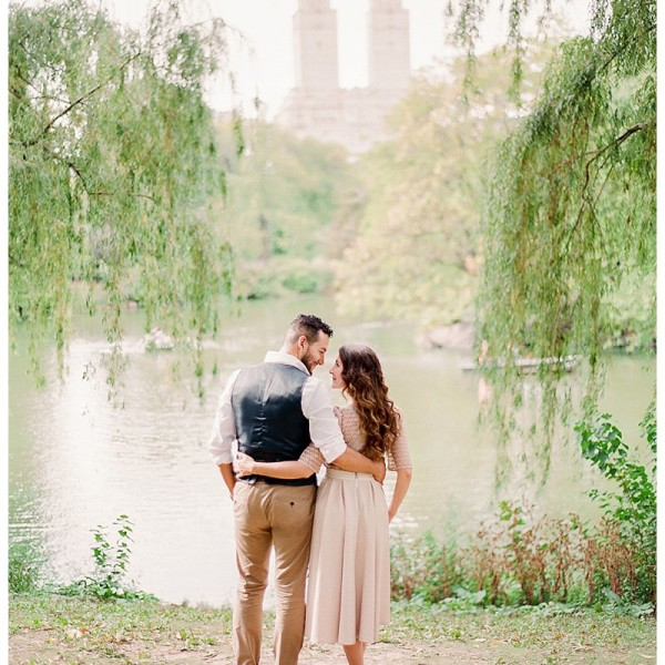 Central Park Engagement Photos in NYC | Sweet Puppy Love
