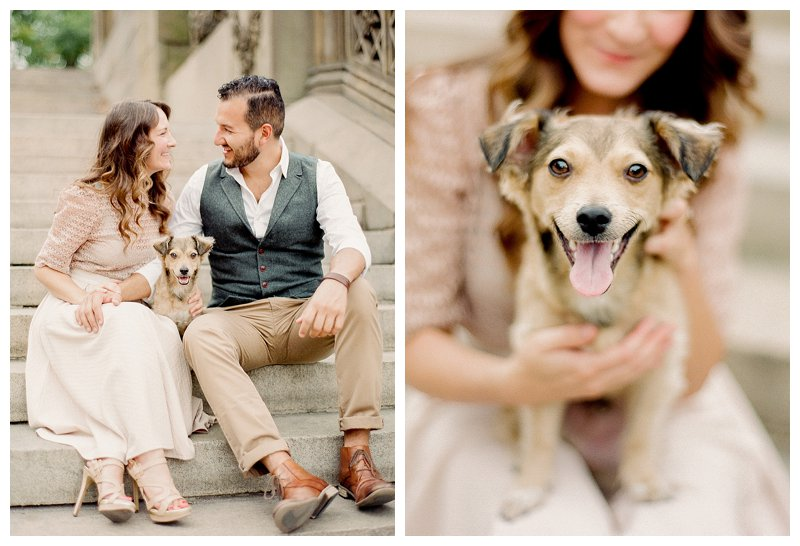 dog engagement photos, Central Park Engagement Photos, nyc engagement photos
